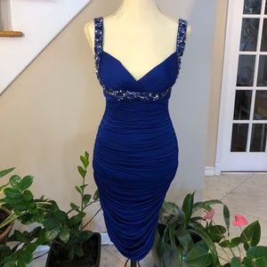 Royal Blue Beaded Strap Embellished Cocktail Dress